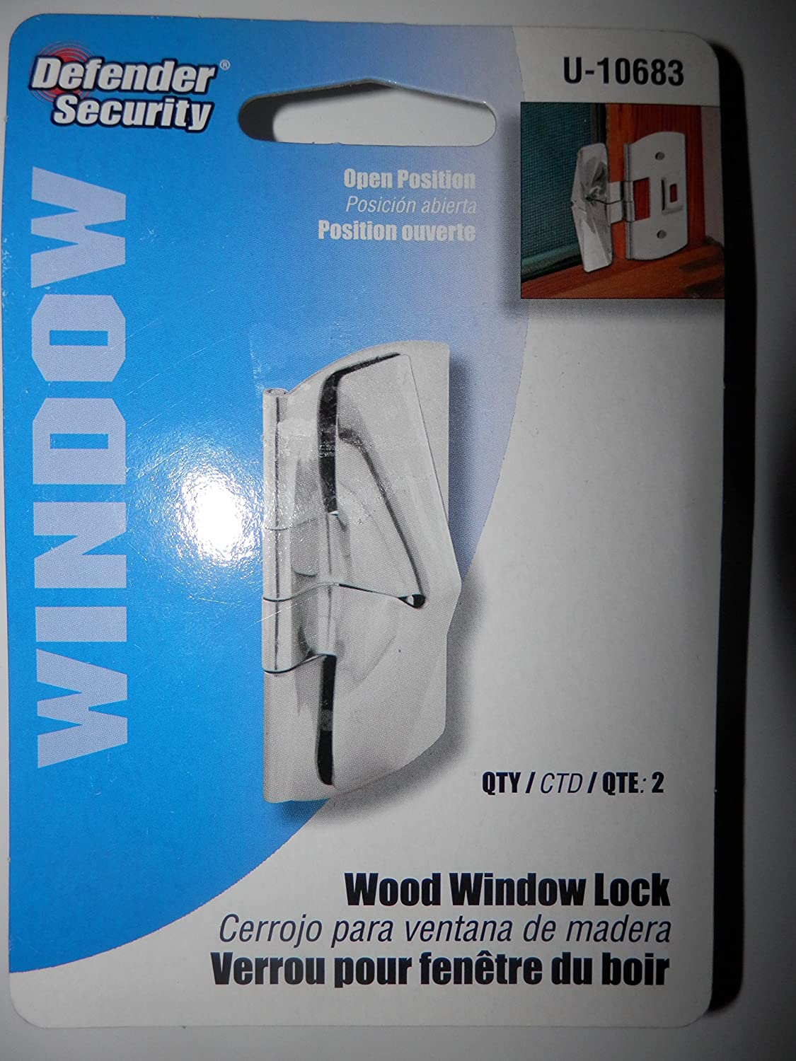 15-Defender Security Wood Window Locks Stainless Steel 2- in each pkg.