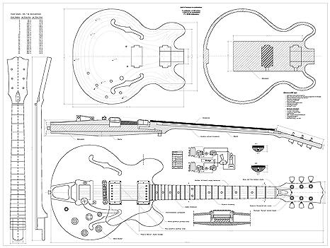 Gibson cs356 Jazz Archtop guitarra Planes – Escala completa diseño dibujos – tamaño real CS-