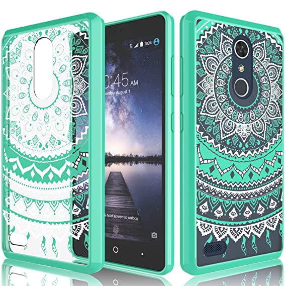 san francisco 2c64f 86f27 ZTE Zmax Pro Case, ZTE Carry Case For Girls, Tekcoo [TFlower] Retro Pattern  [Turquoise] Transparent Cute Lovely Adorable Ultra Slim Clear Hard TPU ...