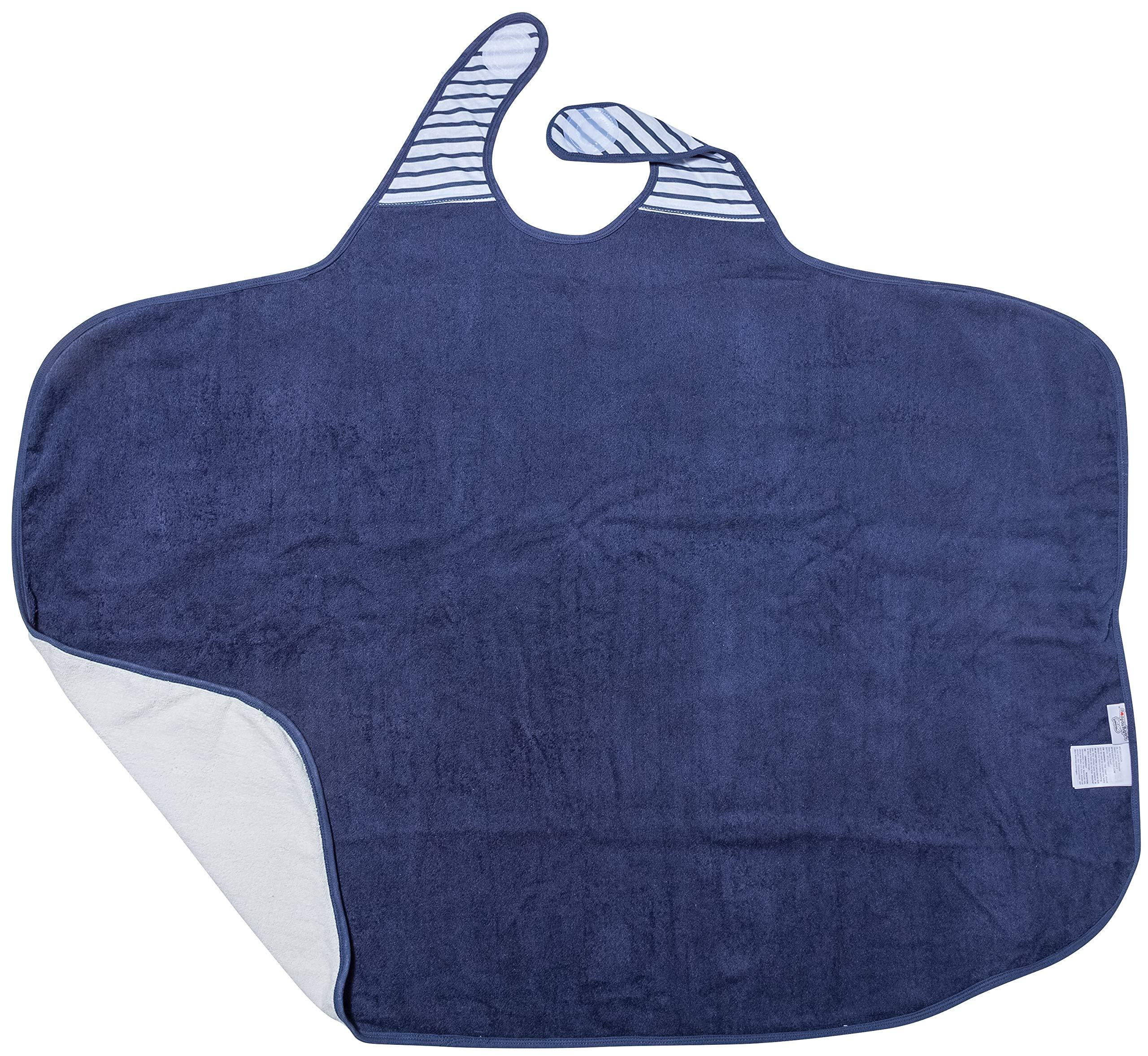 Baby-to-Love Toddler Bath Towel, Extra Large 41x43 Smart with Apron (Blue Stripes)