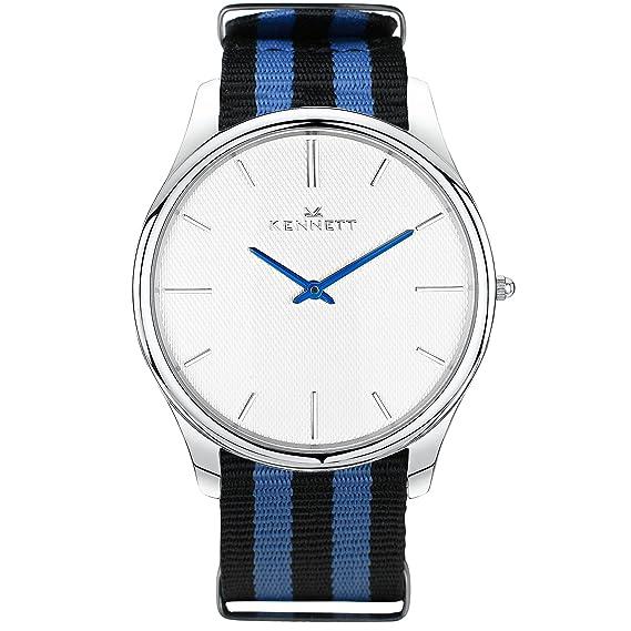 Unique reloj – Kennet 43 mm Azul Negro Plata Cuarzo Reloj para hombres o mujeres.