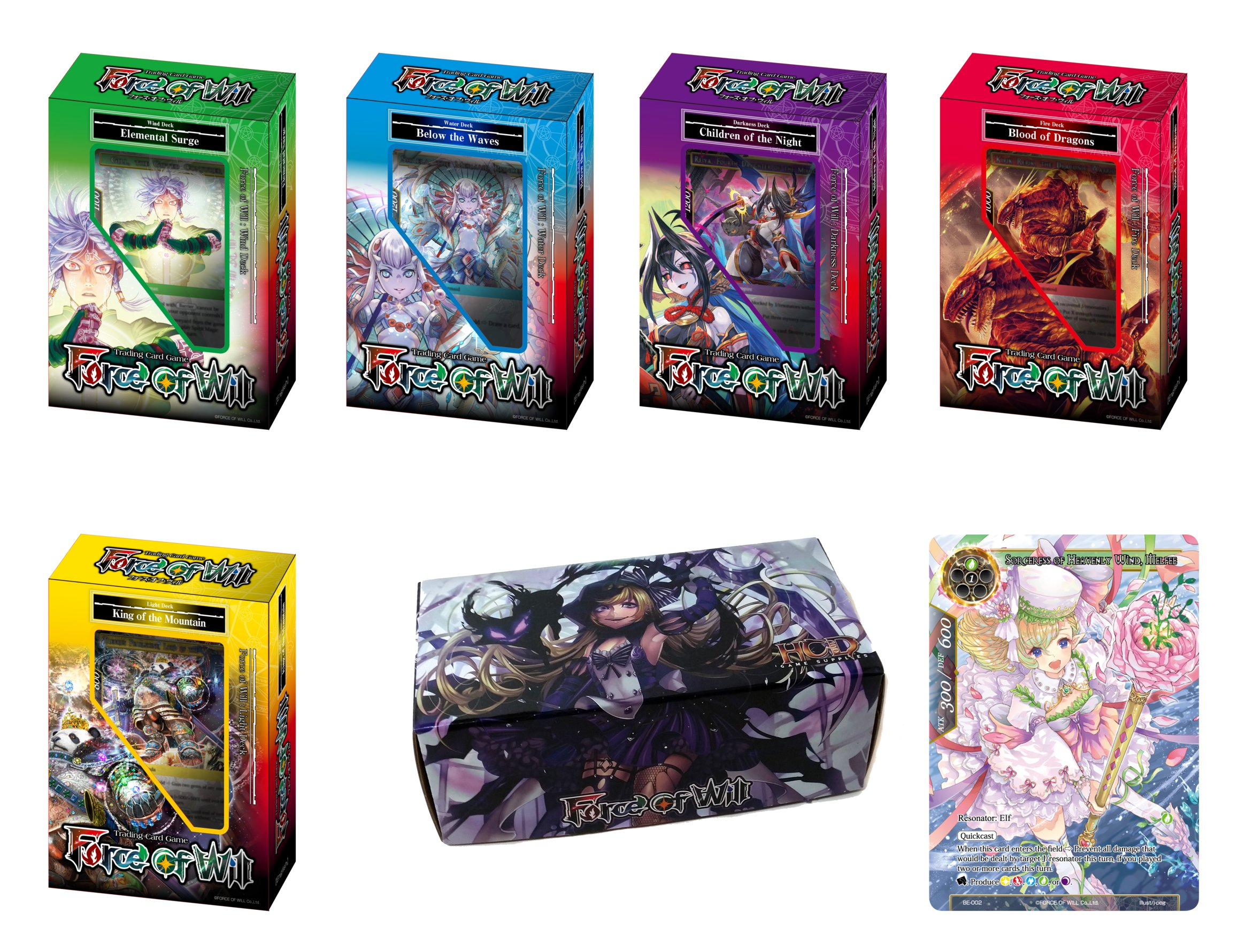 Force of Will TCG Starter Deck Bundle: 5 Reiya Cluster New Legend Precipice Starter Decks + Promo Card + FOW Card Storage Box