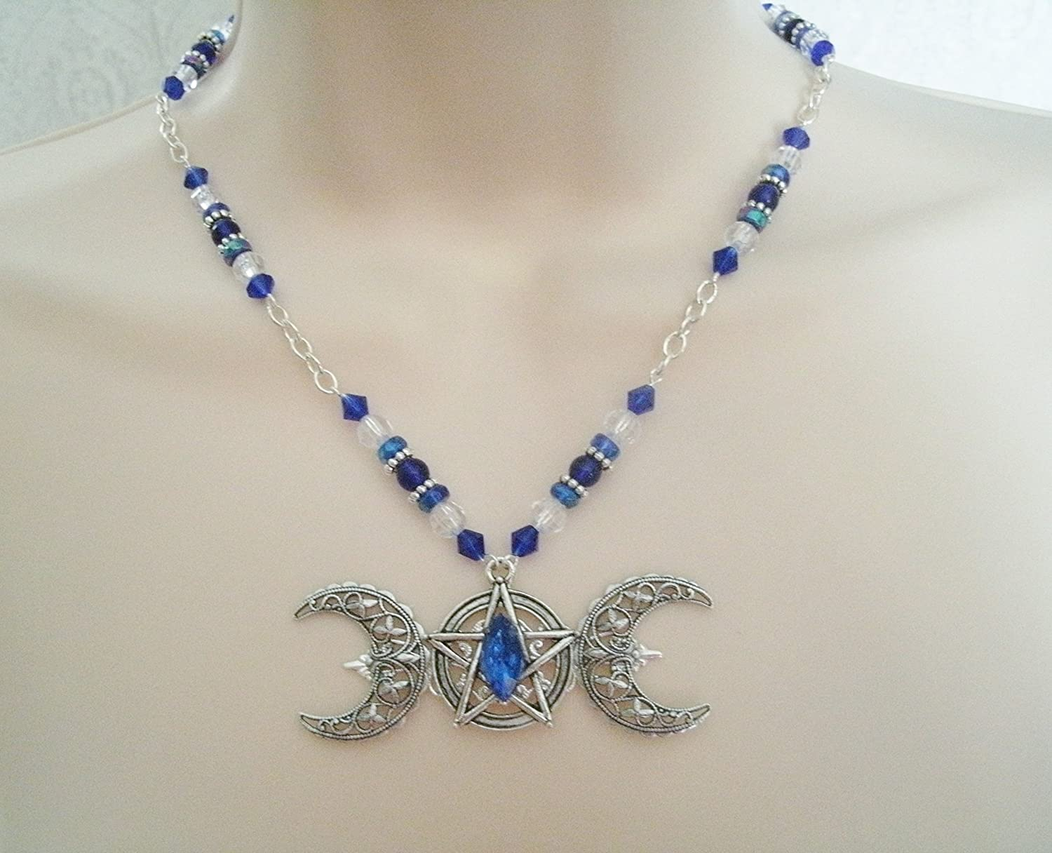 Silver Plated Blue Triple Moon Wicca Pendant Necklace
