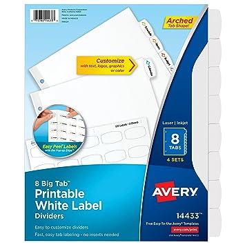 Avery Big Tab imprimible blanco etiqueta divisores con pestañas Easy Peel, 8, 4 sets (14433): Amazon.es: Oficina y papelería