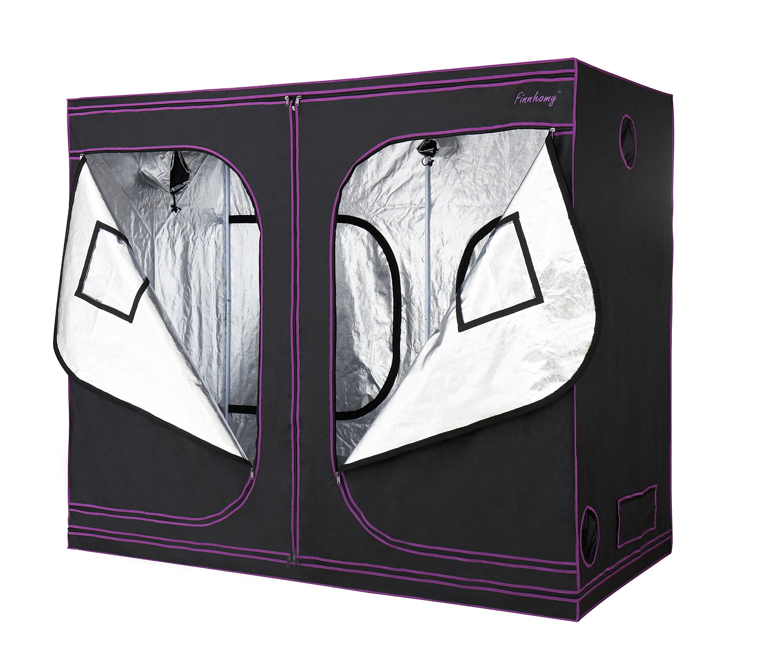 Finnhomy Mylar Hydroponic Grow Tent Multiple Sized 48''x24''x60'' 48''x48''x80'' 36''x36''x72'' 96''x48''x80'' 60''x60''x80'' 600D Grow Room Grow Box Greenhouse Reflective for Indoor Plants Growing Tent(96''x48''x80'')