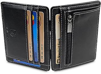 TRAVANDO ® Magic Wallet monedero VEGAS Wallet Hombre pequeña cartera Slim Wallet Mini Wallet estuche delgado masculino tarjeta de crédito tarjetera RFID: ...