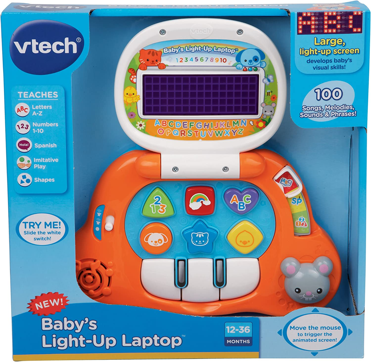 VTech Babys Light-Up Laptop,Orange