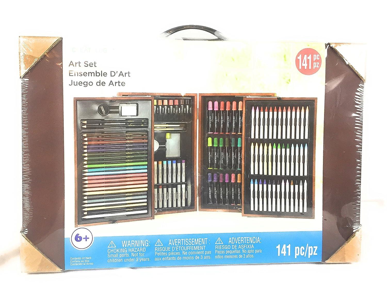 141、ヤングアーティストオイルパステル、カラーマーカー、色鉛筆、水カラーと鉛筆セットin木製ボックス B078HRZS6P