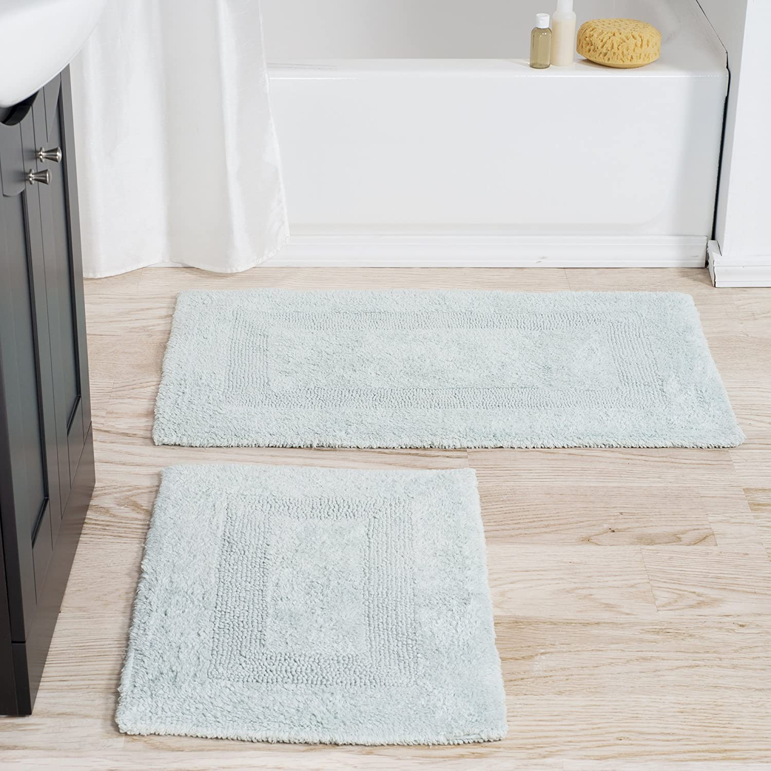 Cotton Bath Mat Set- 2 Piece 100 Percent Cotton Mats- Reversible, Soft, Absorbent and Machine Washable Bathroom Rugs By Lavish Home (Seafoam)
