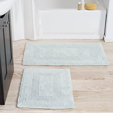 Cotton Bath Mat Set- 2 Piece 100 Percent Cotton Mats- Reversible, Soft, Absorbent and Machine Washable Bathroom Rugs By Lavish Home (Seafoam)