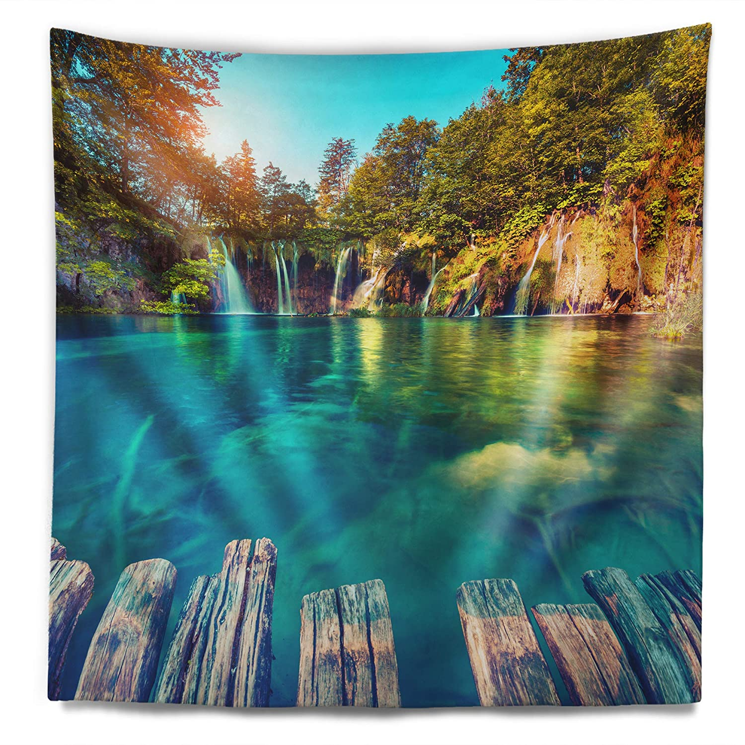 Designart Tap9090 50 60 Blue Waters In Plitvice Lakes Landscape Photo Blanket Décor Art For Home And Office Wall Tapestry Large 50 In In X 60 In Home Kitchen Home Décor