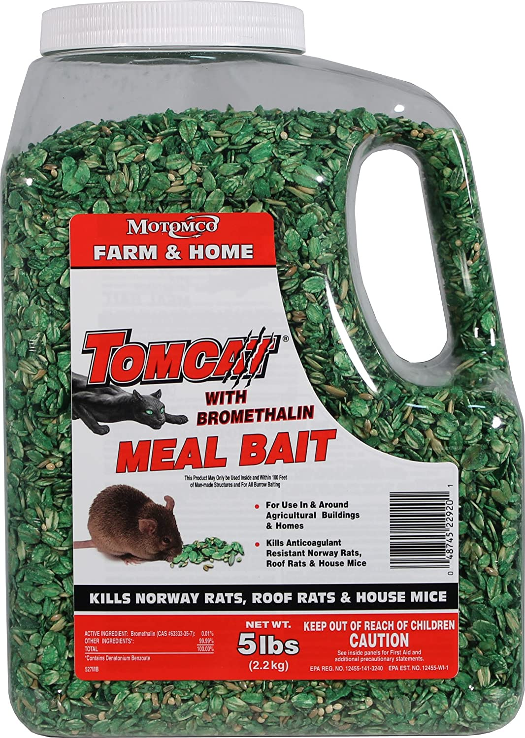 Motomco 008-22920 198889 Tomcat with Bromethalin Meal Bait, 5 lb