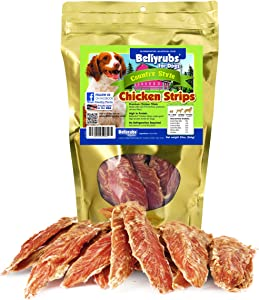 Bellyrubs Country Style Chicken Strips for Small to Large Dogs | Real Chicken Fillet Sticks | All-Natural Gluten & Grain Free Chicken Jerky Treats | High Protein Dog Training Chews | USA Made