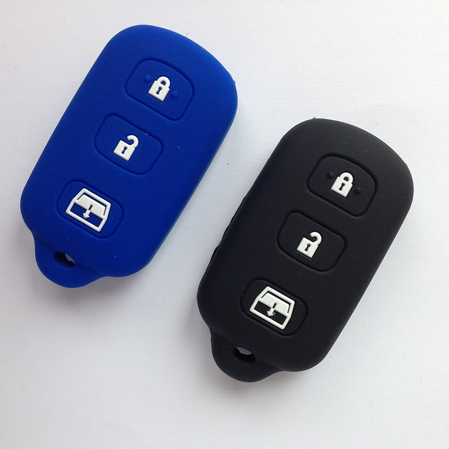 2pcs Fob Skin Key Cover Fit for Toyota 4Runner Sequoia Matrix Remote Key Holder Protector Fob Skin Key Cover Keyless Toyota HYQ12BBX 4 Button Gift