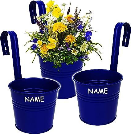 Alles Meine De Gmbh Hange Blumentopf Hangetopf Pflanzschale Metall Royal Blau Inkl Name O 17 Cm Rund Hangend Mit Haken Halterung Aufhangen Gross Mit H Amazon De Spielzeug