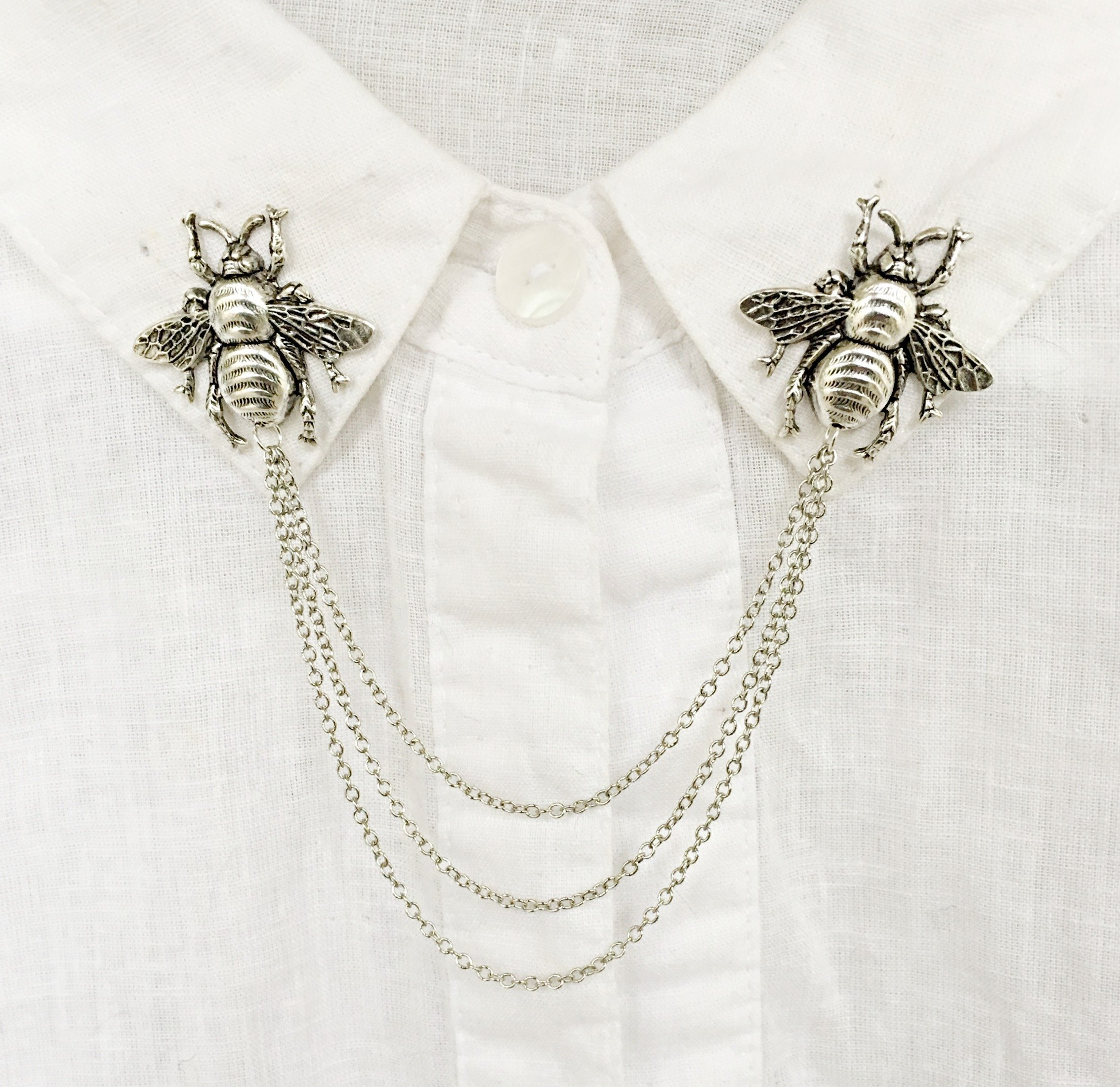 silver bee collar pins or sweater pins for cardigan with 3 silver chains connecting each brooch