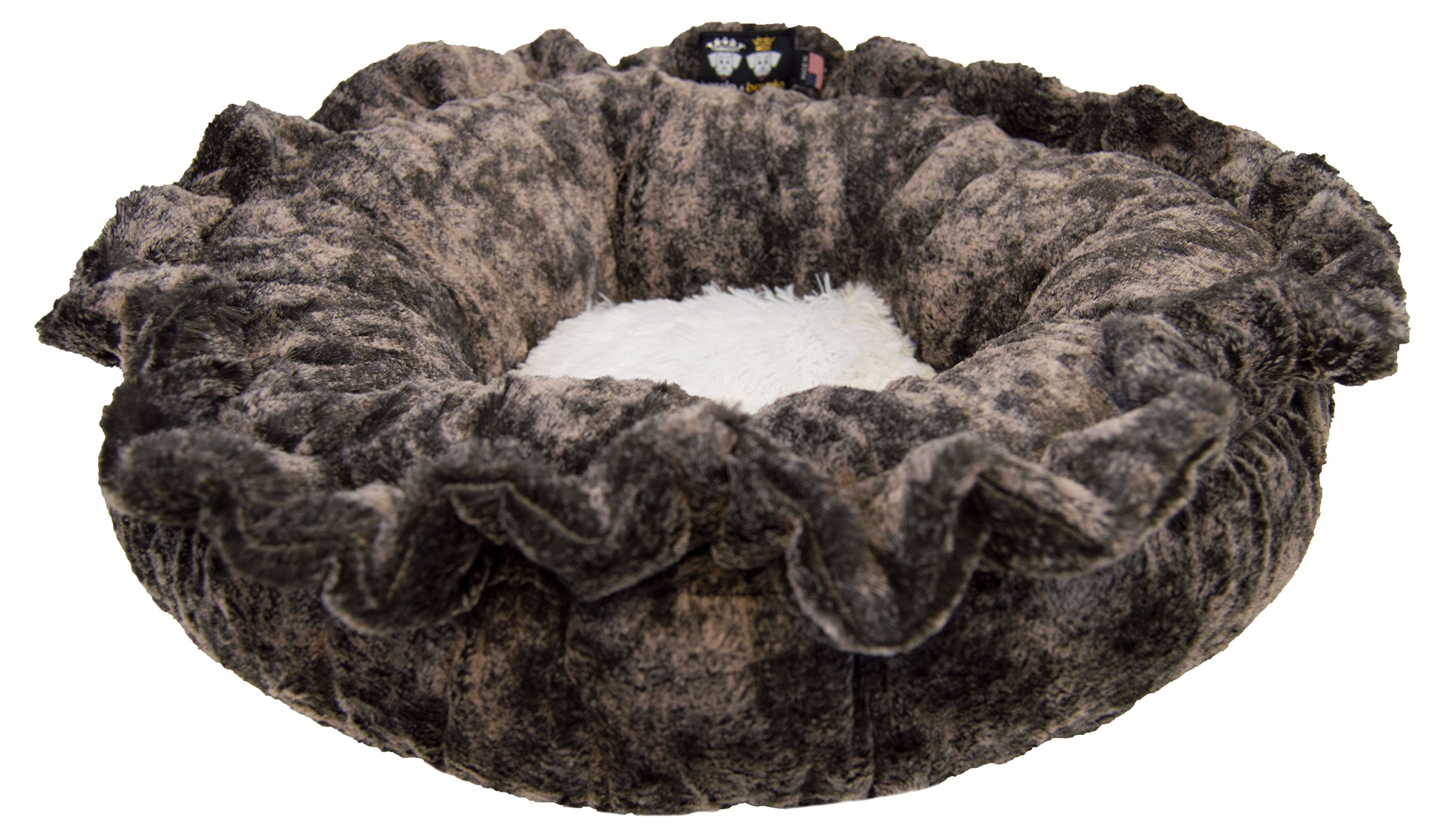 BESSIE AND BARNIE Ultra Plush Koala/Snow White (Patch) Luxury Shag Deluxe Dog/Pet Lily Pod Bed