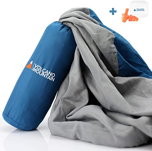 Volcano Mountain Sleeping Bag Liner Lightweight Soft Sleep Sack Adult Travel Comfortable Travel Sheet Sleep Sack for Camping and Hotels Has Velcro Pocket, XL Pillow Pocket, Easy Grab Zipper.