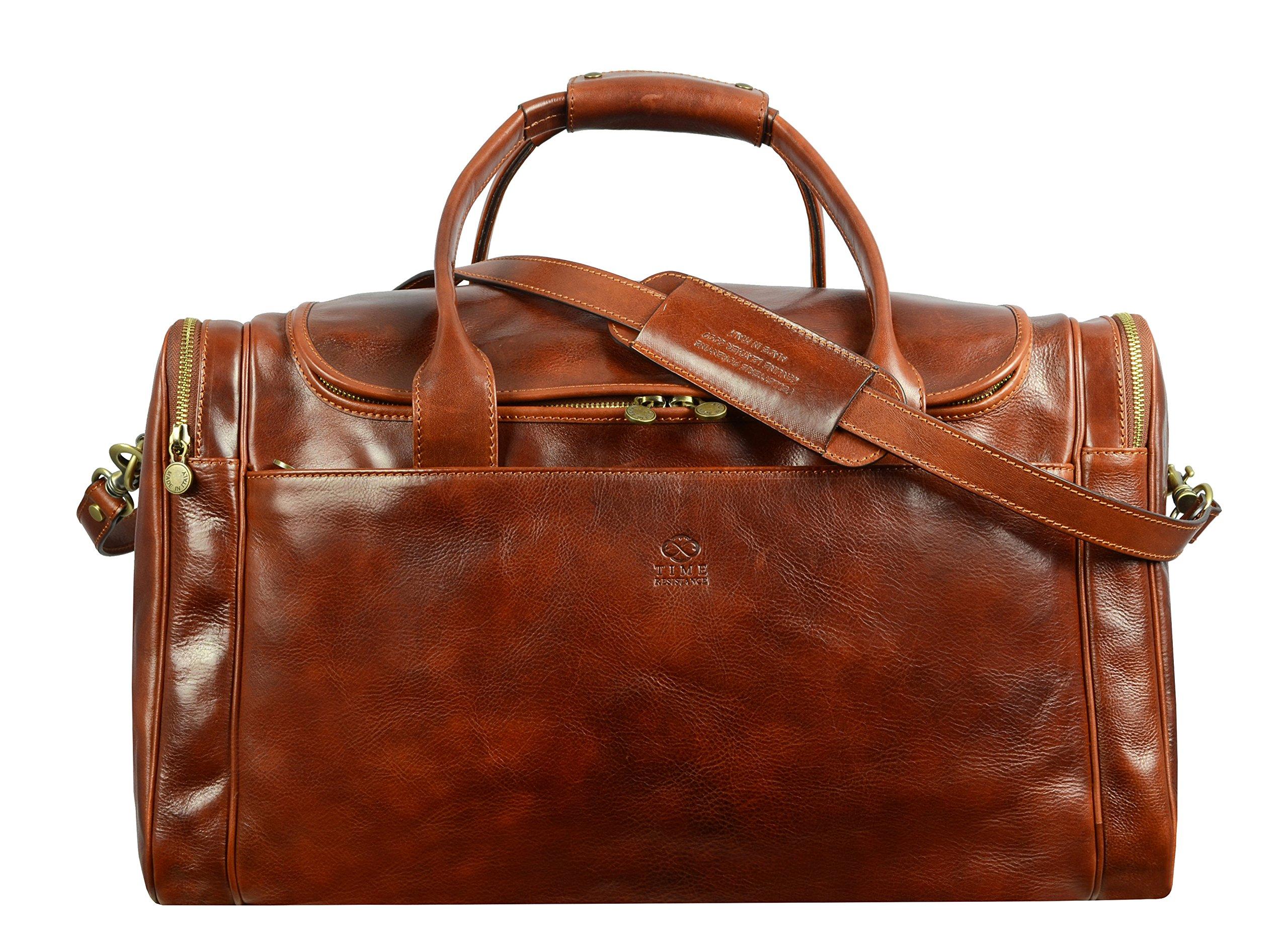 Leather Duffel Bag, Weekend Bag, Gym, Large Travel Bag, Cognac, Brown - Time Resistance by Time Resistance (Image #1)