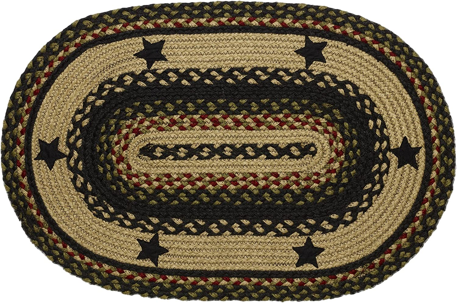 """IHF Home Decor Tartan Star Braided Rug 20"""" x 30"""" to 8'x10' Oval Accent Floor Carpet Natural Jute Material Doormat   Black, Red, Green, Cream Woven Collection (5'x8')"""