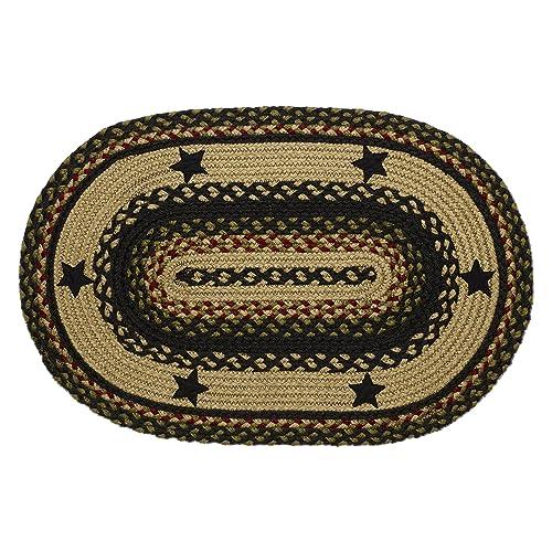 IHF Home Decor Tartan Star Oval Jute Braided Area Rug Floor Carpet 4 x 6 Feet