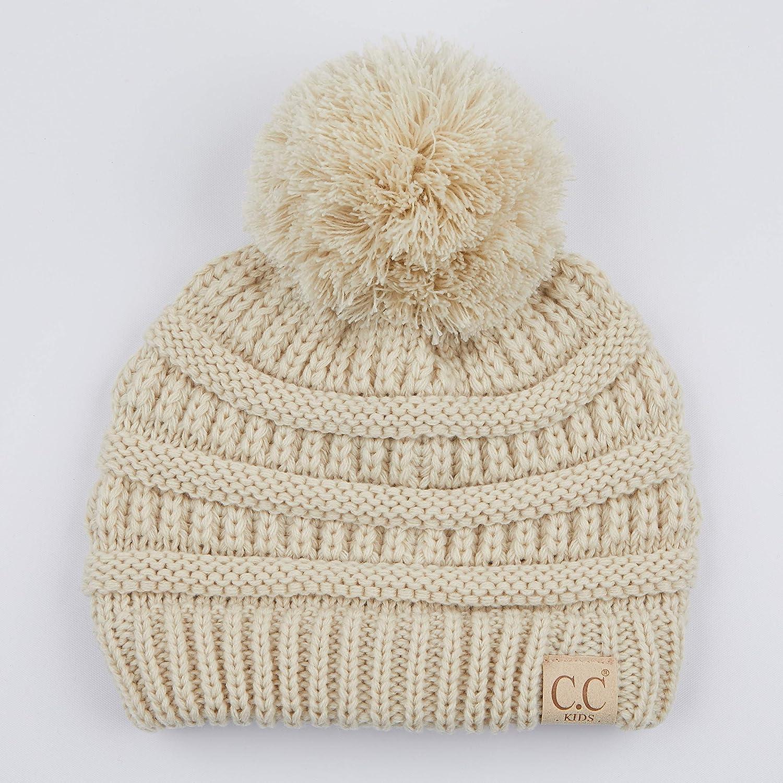 23be741c51c Amazon.com  C.C Kids Beanie Ages 2-7 Warm Chunky Thick Stretchy Knit Slouch  Beanie Skull Kids Hat with Pom (YJ-847-POM) (Beige)  Clothing