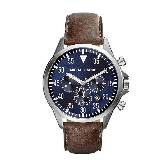 Michael Kors Hombre-Reloj cronógrafo de Cuarzo de Cuero MK8362: Amazon.es: Relojes