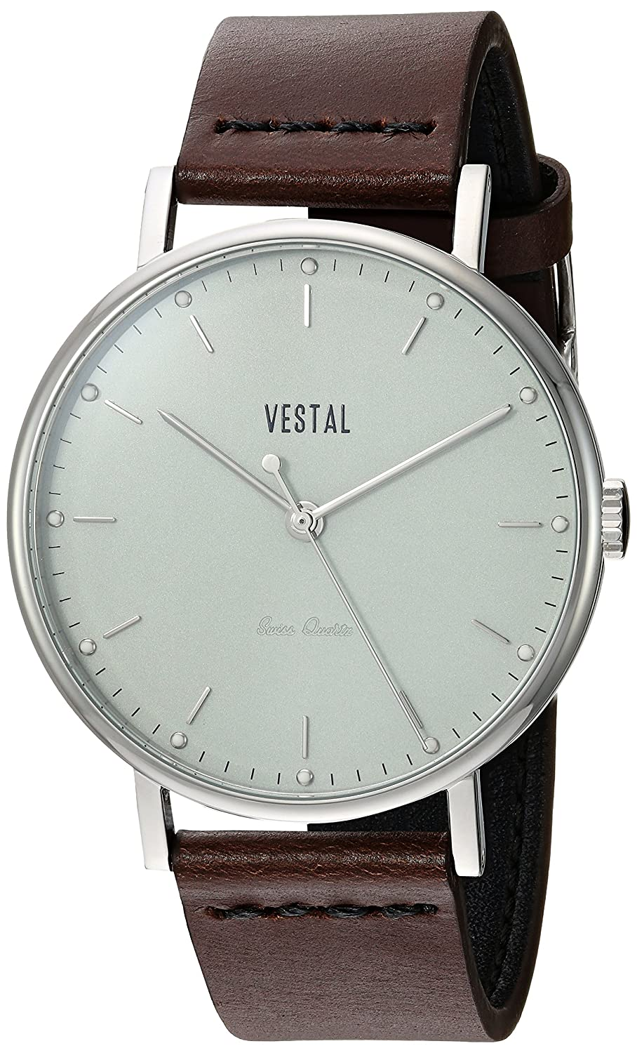 Vestal ' Sophisticate ' Swiss QuartzステンレススチールandレザーDress Watch , Color : Brown ( Model : sp42l06。DB ) B0789FRLN3