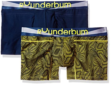 5cdc10df52 Rounderbum Men's Package Lift Boxer Brief 2 Pair Pack, Multi-Yellow, Small  at Amazon Men's Clothing store: