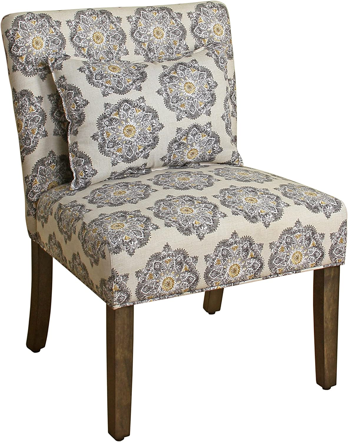 HomePop Parker Accent Chair with Pillow, Gray Medallion