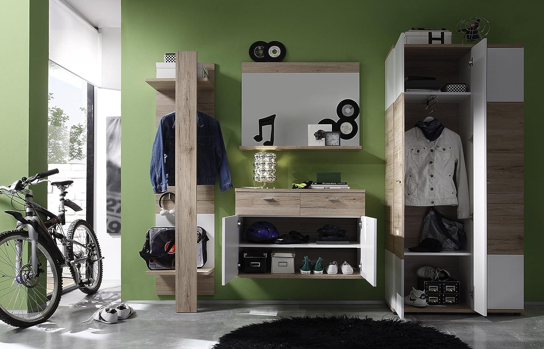 Trendteam smart living Garderobe Gardrobenpaneel Campus, 47 47 47 x 187 x 30 cm in Eiche San Remo Hell (Nb.), Absetzung Weiß mit drei Kleiderhaken und Kleiderstange 9298c6