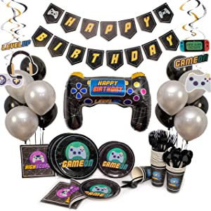 Video Game Party Supplies For Kids. Add To Your Gaming Party Supplies! Gamer Party Supplies with Plates, Balloons and MORE! Girl or Boy Birthday Decorations