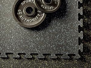 American Floor Mats Fit-Lock 3/8 Inch Heavy Duty Rubber Flooring - Interlocking Rubber Tiles (24