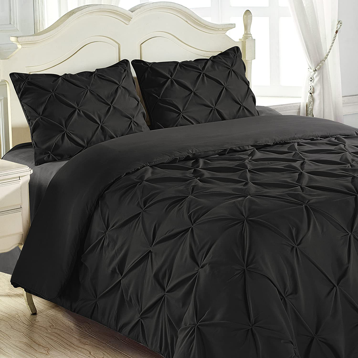 King and Queen Home Reinforced Double Stitch 3 Piece Pinch Pleat Comforter Set (King, Black