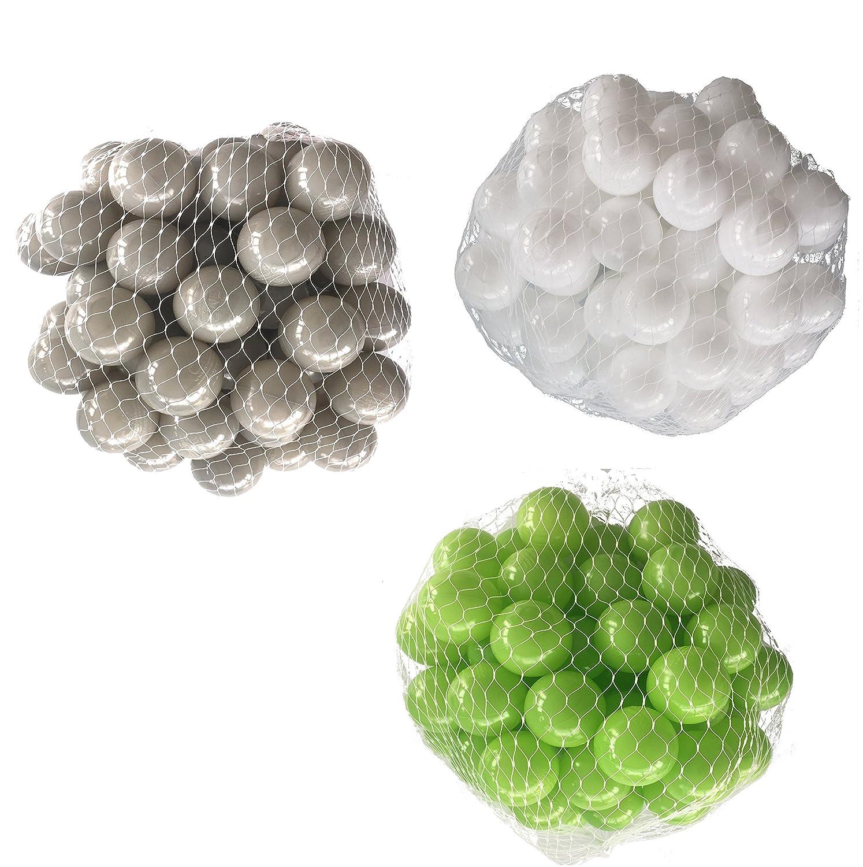 150 Bälle für Bällebad gemischt mix mit hellgrün, weiß und grau mybällebad