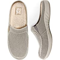 Mens Slippers with Arch Support, Canvas House Slipper for Men with Velvet Lining, Slip On Clog, Indoor Outdoor House…