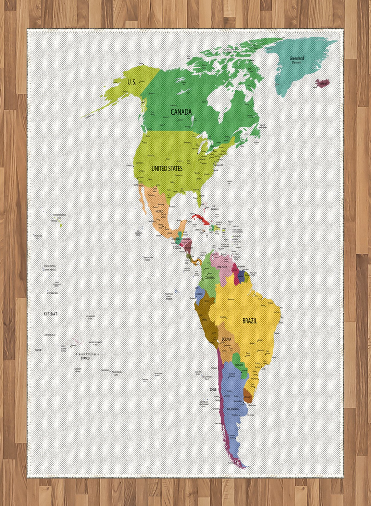 Map Area Rug by Ambesonne, Map of South and North America with Countries Capitals and Major Cities Colorful Design, Flat Woven Accent Rug for Living Room Bedroom Dining Room, 5.2 x 7.5 FT, Multicolor by Ambesonne