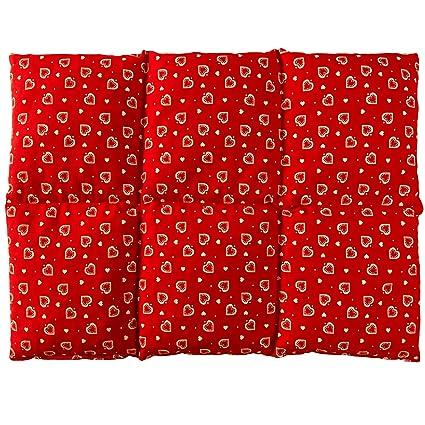 Almohada térmica | Bolsa de semillas para la espalda (calor y frio) | (40x30 rojo con corazones con 6 compartimientos, semillas de colza)