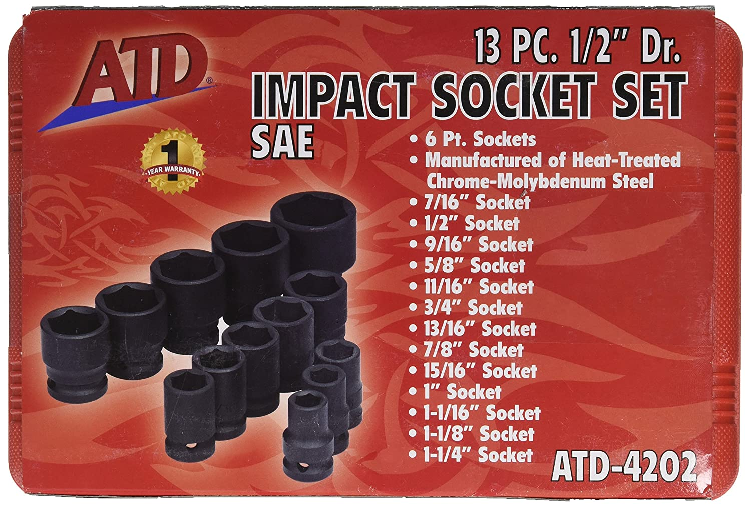 Advanced Tool Design Model ATD-4202 13 Piece 6 Point Standard SAE Impact Socket Set