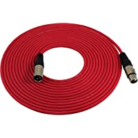 GLS Audio 25ft Mic Cable Patch Cords - XLR Male to XLR Female Red Microphone Cables - 25' Balanced Mike Snake Cord - RED