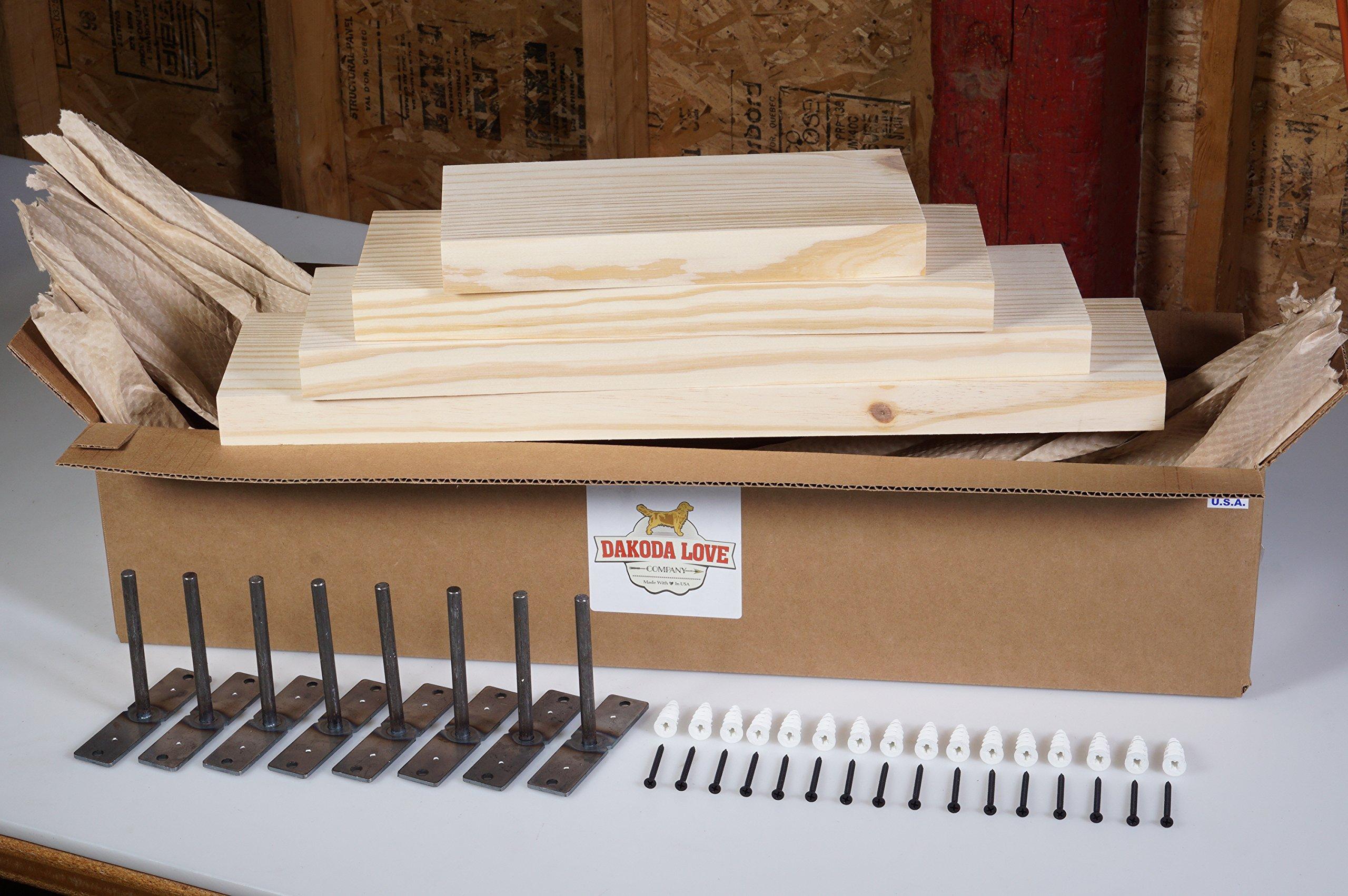 DAKODA LOVE Clean Edge Floating Shelves, USA Handmade, Unfinished Ready to Stain, 100% Countersunk Hidden Floating Shelf Brackets, Beautiful Grain Pine Wood Wall Decor (Set of 4) (Unfinished)