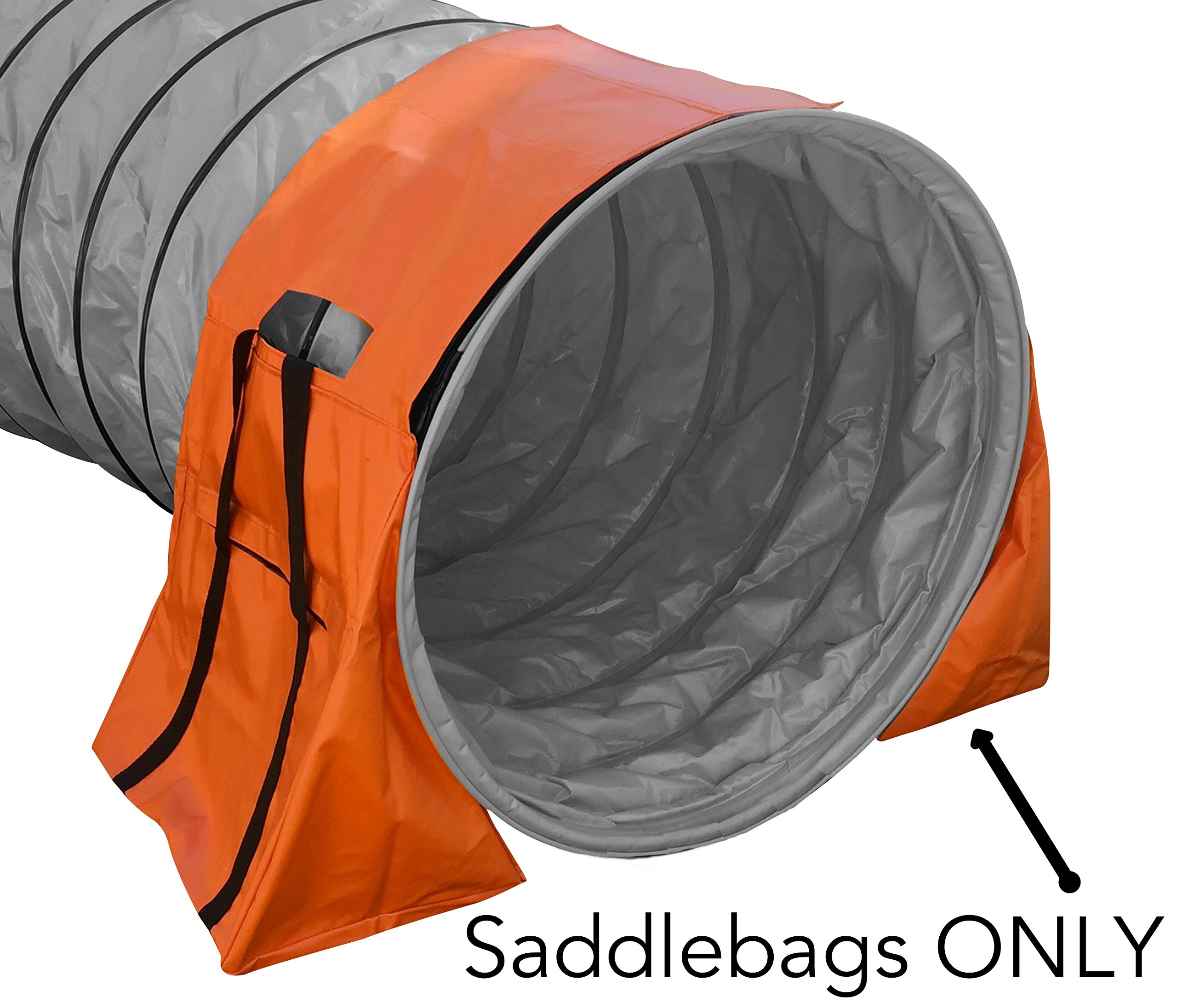 Non-Constricting Saddlebags for Stabilizing Dog Agility Tunnel Equipment Indoor or Outdoor, Orange Color (1 PACK) by Rise8