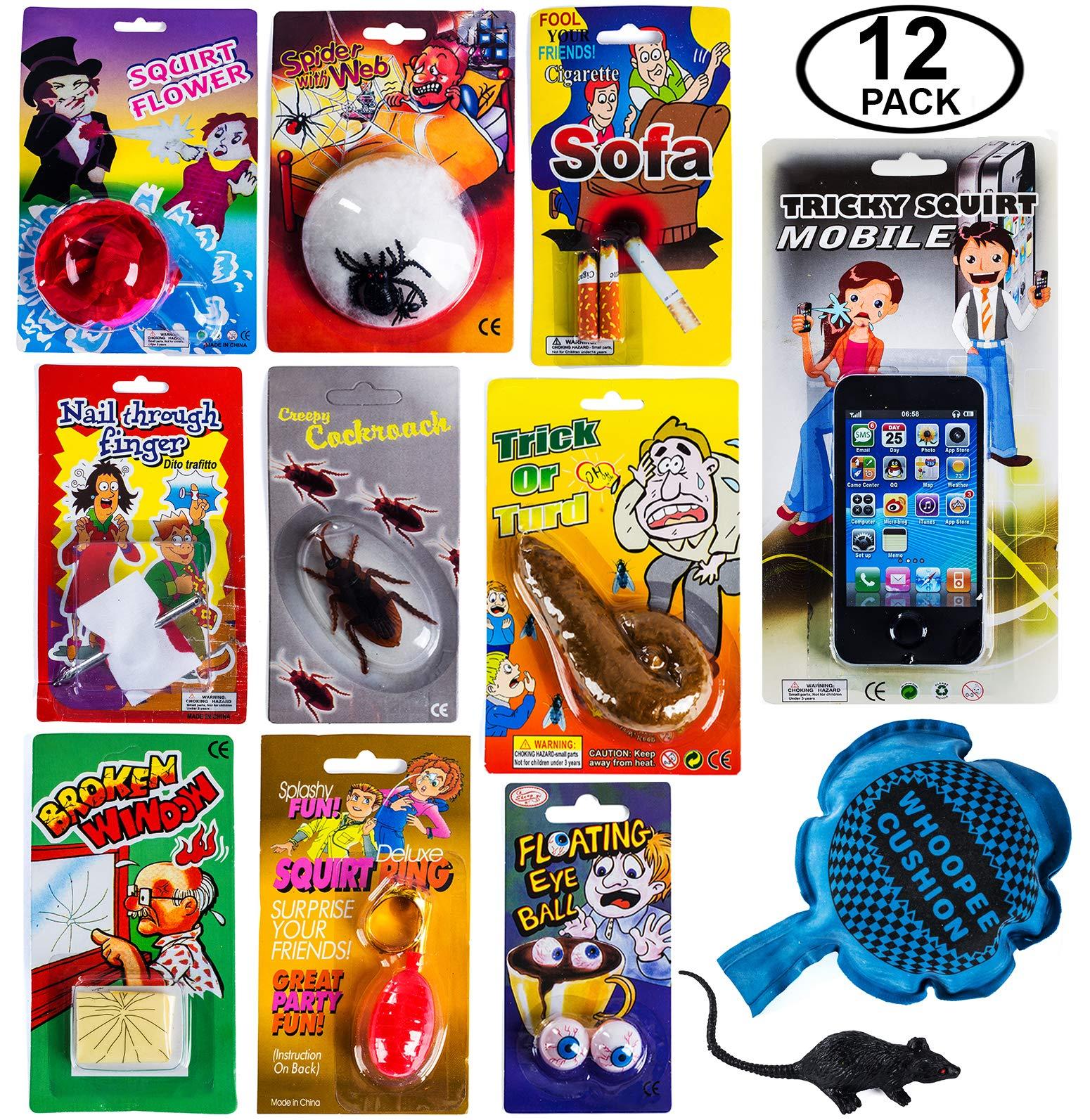 Tigerdoe Pranks & Gag Set - Practical Joke - Gag Gift - Prank Stuff - April Fools Prank Kit - Prankster Kit - 12 Pc