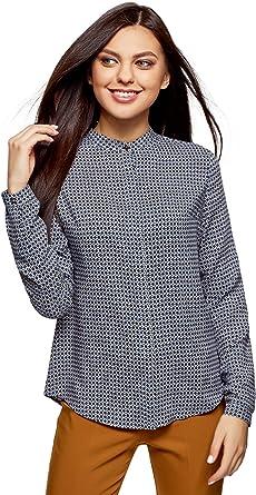 oodji Collection Mujer Blusa de Viscosa Estampada con Cuello Mao: Amazon.es: Ropa y accesorios