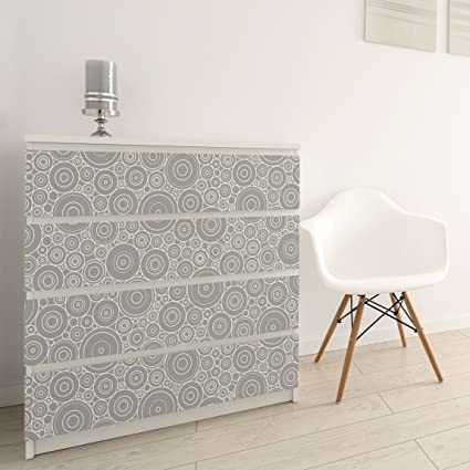 Carta Adesiva per Mobili - 60s retro circle pattern white light gray ...
