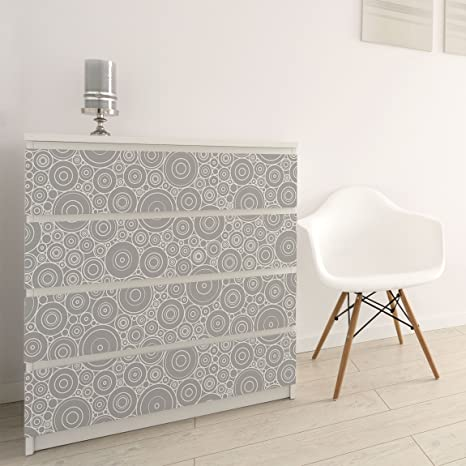 Carta Adesiva per Mobili - 60s retro circle pattern white ...