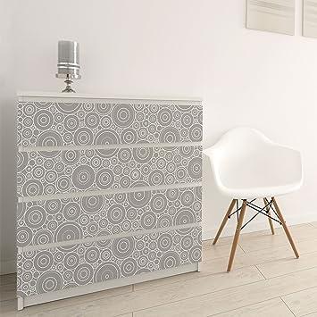 Carta Adesiva per Mobili - 60s retro circle pattern white light ...