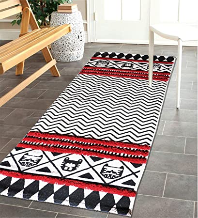 The Home Talk Cotton with Tufting Floor Rug (Red, 60x150cm)