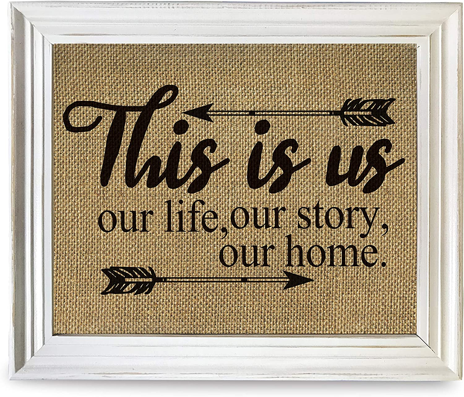 White Photo Frame Rustic Printed Signs-This is Us Our Lift Our Story Our Home Kitchen Prints Living Room Bedroom Dining Room Framed Wall Decor, by 12''x10''