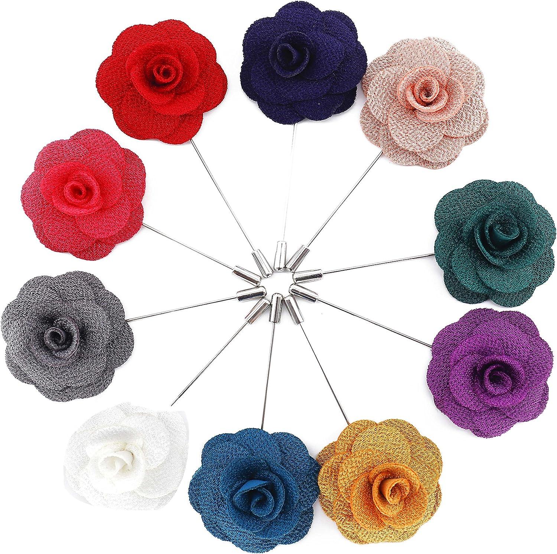 Broche de Solapa,Pin de Solapa de Flores Hechos a Mano de Hombre con Caja de Regalo para Traje para Bodas Banquetes Fiestas Desfile de Modas 10 piezas